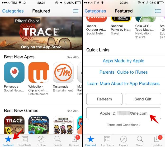 Abra a loja de aplicativos do iOS e acesse as informações da conta (Foto: Reprodução/Helito Bijora)