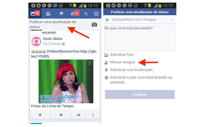 Acessando a ferramenta para marcar amigos em uma postagem no Facebook Lite para Android (Foto: Reprodução/Marvin Costa)