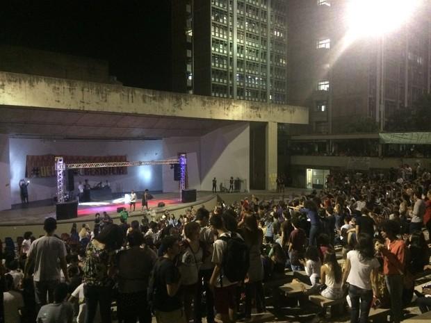 Uerj teve manifestação na noite desta terça-feira (Foto: Andressa Gonçalves/G1)