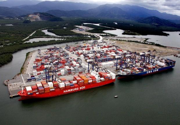 Terminal da Embraport no porto de Santos: Odebrecht vende maior terminal portuário multi-modal privado do Brasil (Foto: Divulgação)
