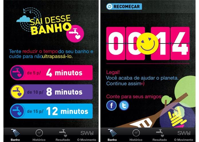 App Sai Desse Banho desafio o usuário a gastar menos tempo no chuveiro (Foto: Reprodução/Barbara Mannara)