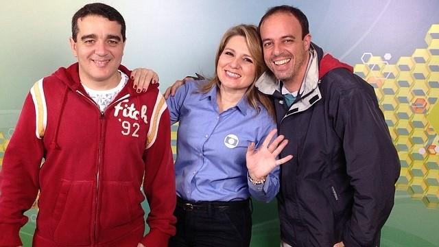 Alexandre Gomes, Vanessa Faro e Alex Ferreira na redação móvel (Foto: arquivo pessoal)