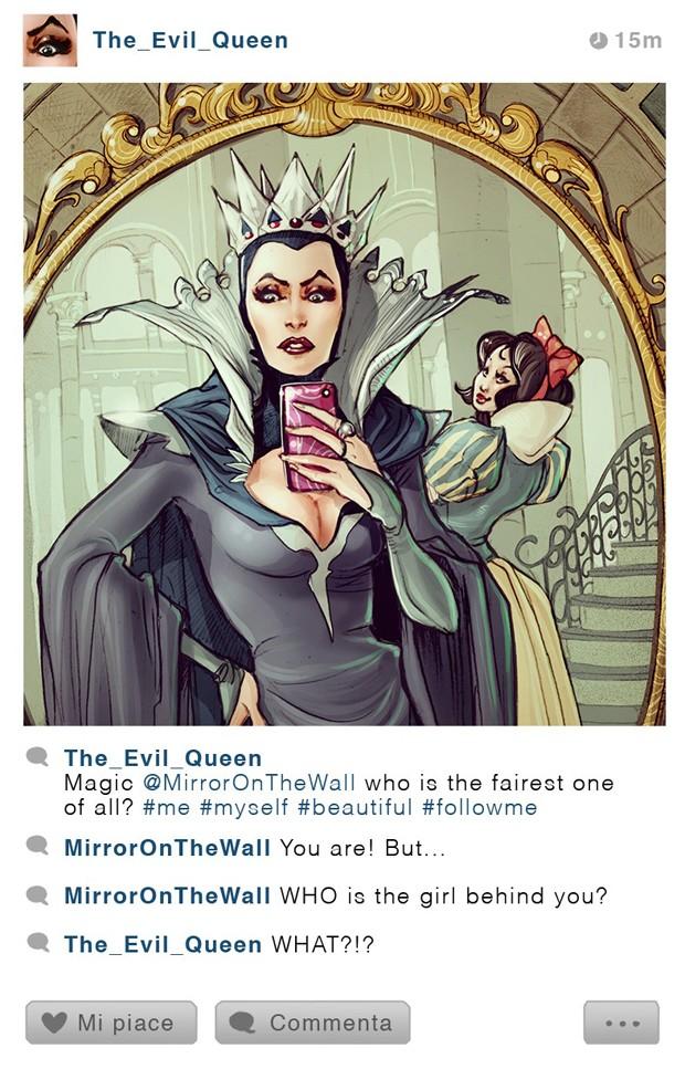 Rainha da Branca de Neve tira selfie em frente do espelho mágico em ilustração da série 'Selfie Fables' (Foto: Divulgação/Simona Bonafini)