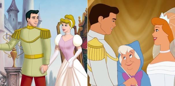 Cinderela voltando da lua de mel no segundo filme da série, e, mais ruiva, no terceiro (Foto: Divulgação/Reprodução)