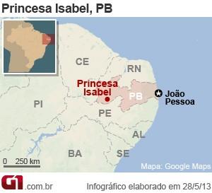 Mapa Princesa Isabel (Foto: Arte/G1)