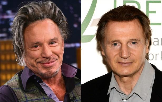 Os atores veteranos Mickey Rourke e Liam Neeson nasceram em 1952. (Foto: Getty Images)