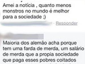 Mensagens publicadas na página da adolescente no Facebook (Foto: Reprodução / Facebook)