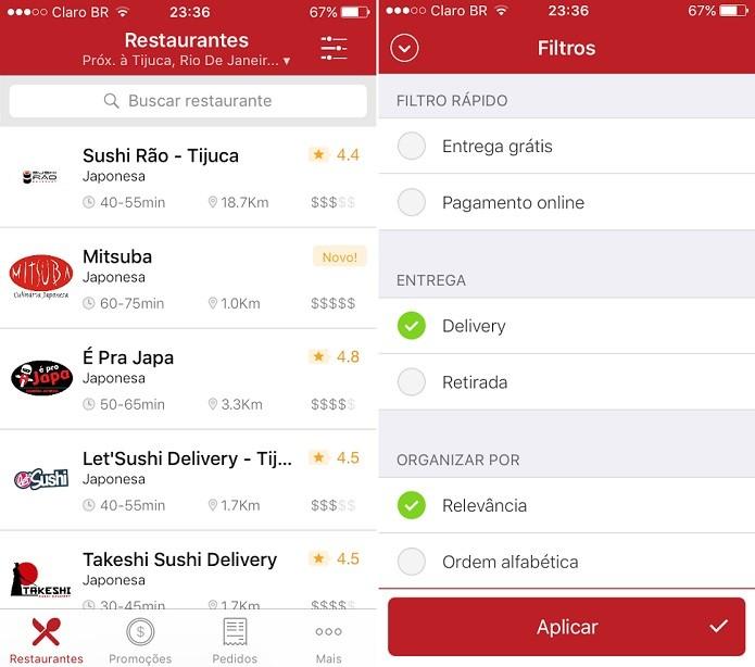 Confira os restaurantes mais próximos de você pelo app (Foto: Reprodução/Aline Jesus)