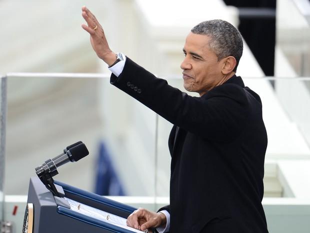 Obama se prepara para fazer discurso depois do juramento (Foto: Emmanuel Dunand/AFP)
