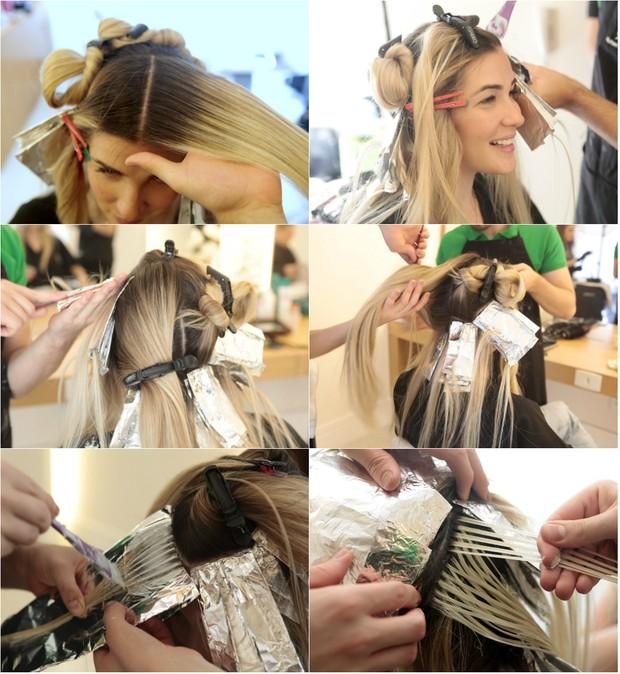 Ex-BBB Aline Gotschalg retorca raiz dos cabelos pintados: Consultei a minha médica antes e ela me explicou que não teria problema em descolorir os fios. O que realmente a mulher grávida não pode é pintar os cabelos. São processos bem diferentes (Foto: Isac Luz/Ego)