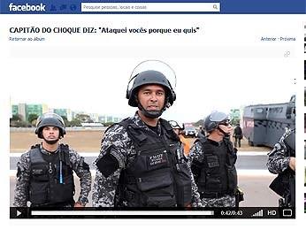 Página em rede social mostra capitão da PM que jogou gás em manifestantes (Foto: Facebook/Reprodução)