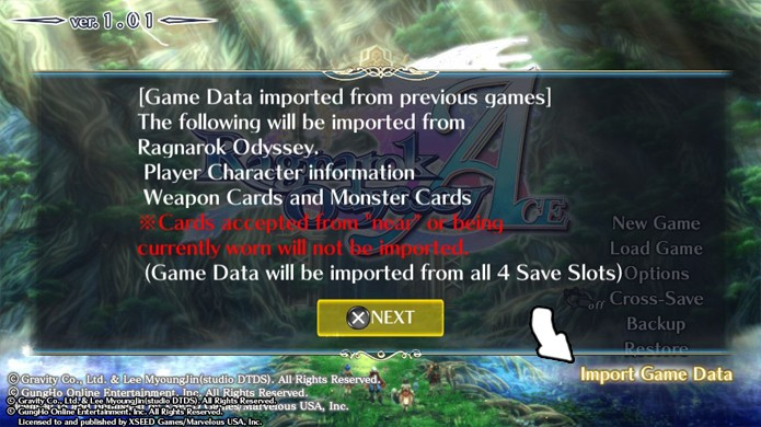 Selecione a opção Import Game Data em Ragnarok Odyssey ACE (Foto: Reprodução)