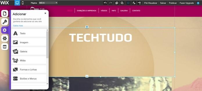 Adicionar texto, foto e vídeo no Wix (Foto: Reprodução/Carolina Ribeiro)  (Foto: Adicionar texto, foto e vídeo no Wix (Foto: Reprodução/Carolina Ribeiro) )