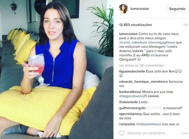 Sofá da nova casa de Luma Costa (Foto: Reprodução / Instagram)