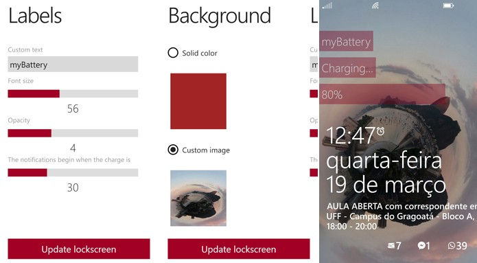 MyBattery Lockscreen bota o nível de carga da sua bateria na tela de bloqueio do Windows Phone (Foto: Reprodução/Elson de Souza)