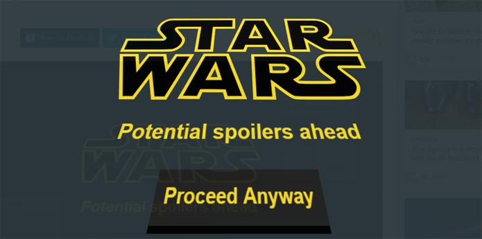 Extensão alerta para possíveis spoilers de O Despertar da Força (Foto: Reprodução/Chrome)