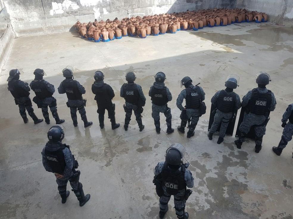 Rebelião controlada no Presídio Provisório Professor Raimundo Nonato, em Natal, pelo Batalhão de Operações Especiais (Foto:  Divulgação/Sindicato dos Agentes Penitenciários do RN (Sindasp))