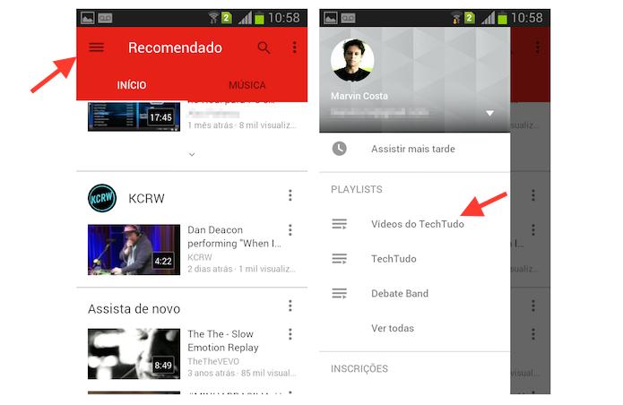 Acessando a playlist criada no YouTube para Android (Foto: Reprodução/Marvin Costa)