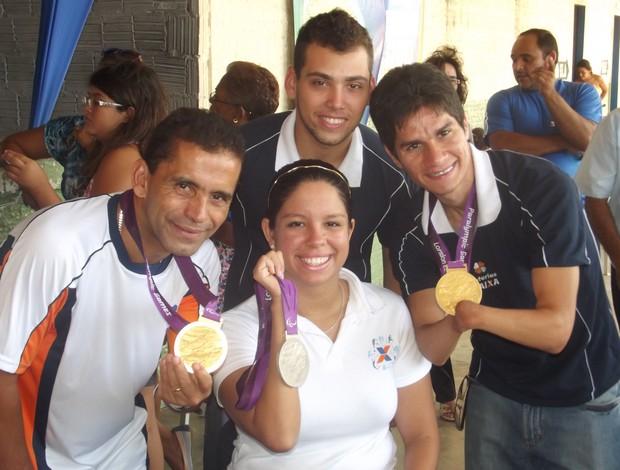 Alan Fonteles, Tito Sena, Yohansson Nascimento e Edênia Garcia durante evento em Natal (Foto: Jocaff Souza/GLOBOESPORTE.COM)