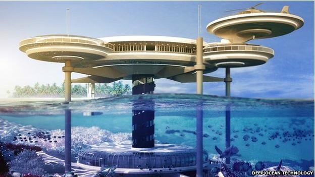 Quartos submersos são conectados por elevador a disco na superfície (Foto: BBC/Deep Ocean Technology)