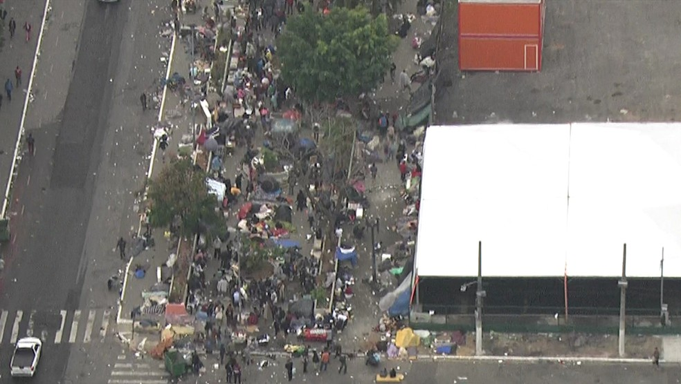 Cracolândia na Alameda Cleveland  (Foto: Reprodução/TV Globo)