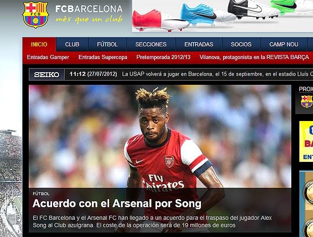 Barcelona anuncia a contratação de Alex Song (Foto: Reprodução / Site Oficial)