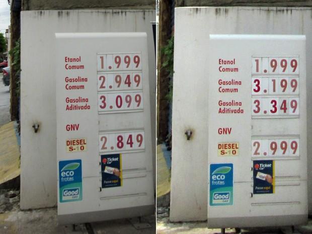 Na Rua Monte Serrat, na Zona Leste, houve aumento de R$ 0,25 no preço da gasolina e etanol ficou inalterado. O Diesel subiu R$ 0,15. (Foto: Karina Trevizan/G1)