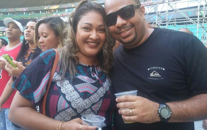Casal curte Festival de Verão em Salvador (Foto: Juliana Almirante/ Gshow)