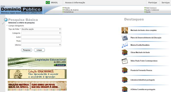 Apesar de bastante simples, site brasileiro conta com acervo bastante rico e variado (Foto: Reprodução/Filipe Garrett)