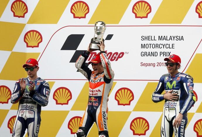 pódio motogp malásia - pedrosa, lorenzo e rossi  (Foto: Reuters)