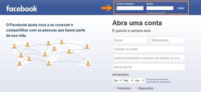 Digite seu nome de usuário e senha para acessar o Facebook (Foto: Reprodução/Barbara Mannara)