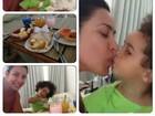 Scheila Carvalho mostra café da manhã com a filha