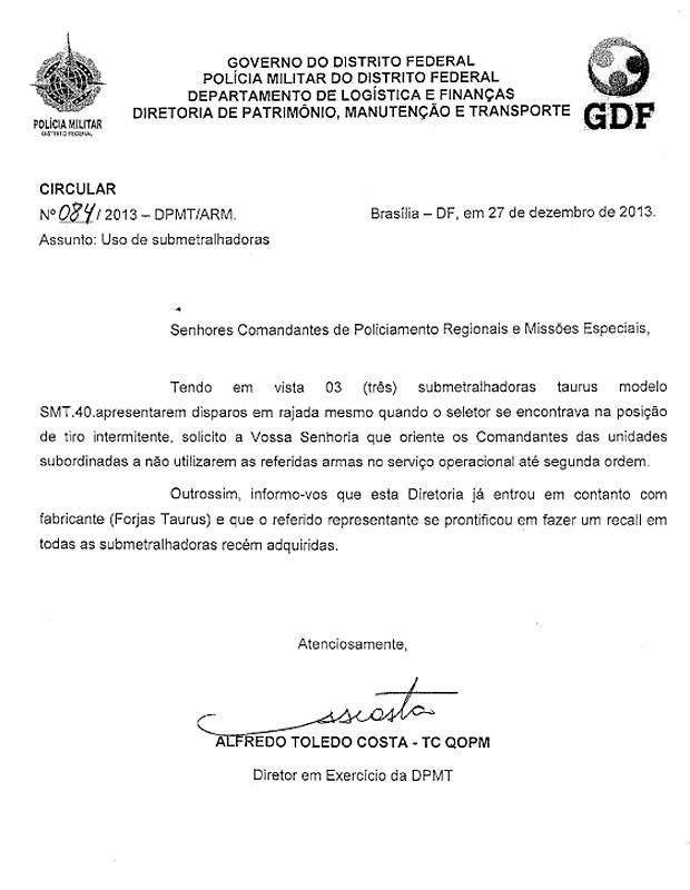Circular distribuída a comandantes de policiamento da PMDF (Foto: G1 / Reprodução)