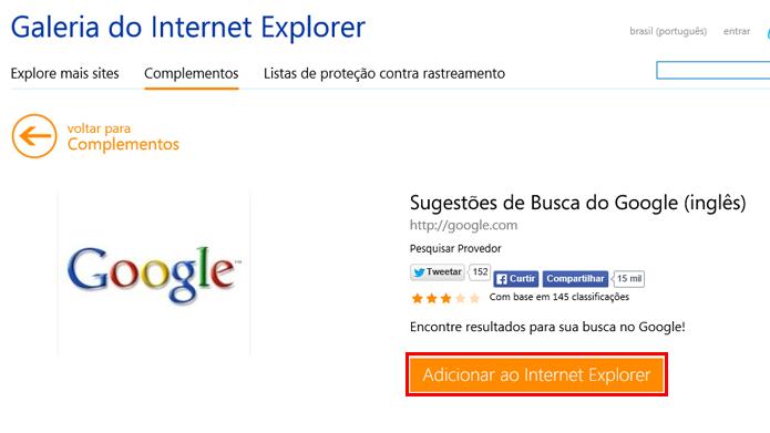 Google pode ser adicionado a partir da página de complementos (foto: Reprodução/Internet Explorer)