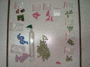 Foram apreendidas 215 cápsulas de ecstasy e 40 pontos de LSD (Foto: Polícia Civil/Divulgação)