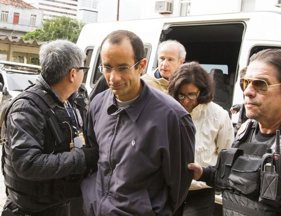O presidente da Odebrecht, Marcelo Odebrecht deixa o IML,em Curitiba (Foto: Paulo Lisboa/Folhapres)