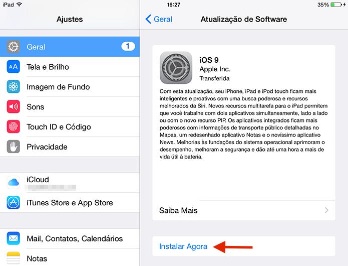 Iniciando o download e instalação do iOS 9 (Foto: Reprodução/Marvin Costa)