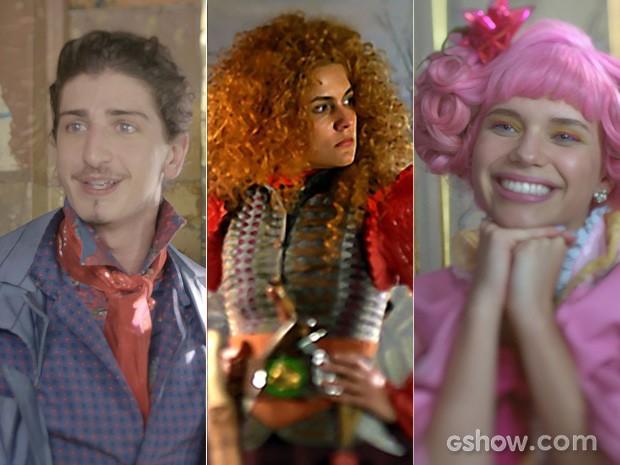 Juliana, Ferdinando e Gina contam quem gosta de quem (Foto: Meu Pedacinho de Chão/TV Globo)