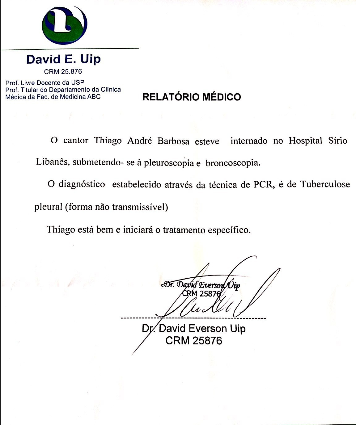 Relatório Médico (Foto: Divulgação)