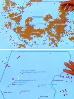 Mapas mostram evolução das queimadas na TI Arariboia (Foto: Reprodução / TV Mirante)