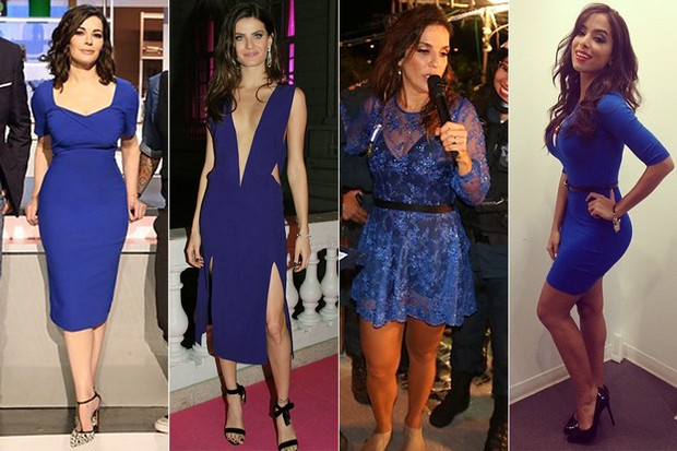MODA - Tendência azul royal - Nigella Lawson, Isabelli Fontana, Ivete Sangalo e Anitta (Foto: Getty Images | EGO | Divulgação | Instagram)