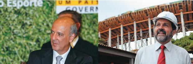 UM A FAVOR, O OUTRO TAMBÉM José Roberto Arruda (à esq.) iniciou o projeto do Mané Garrincha. Quando candidato, Agnelo Queiroz criticou o estádio. Depois de eleito, mudou de ideia (Foto: Sergio Lima/Folha imagem e ABR)