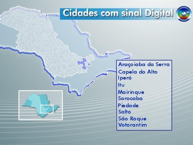 Cidades que recebem sinal digital na região de Sorocaba e Jundiaí (Foto: Editoria de Arte)