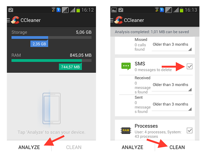 Apagando arquivos desnecessários no Android utilizando o CCleaner (Foto: Reprodução/Marvin Costa)