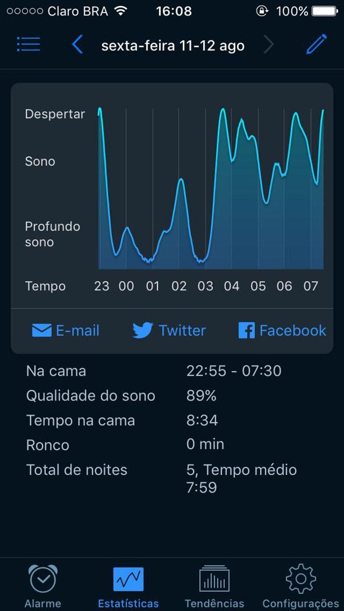 Interface do Sleep Cycle (Foto: Reprodução)