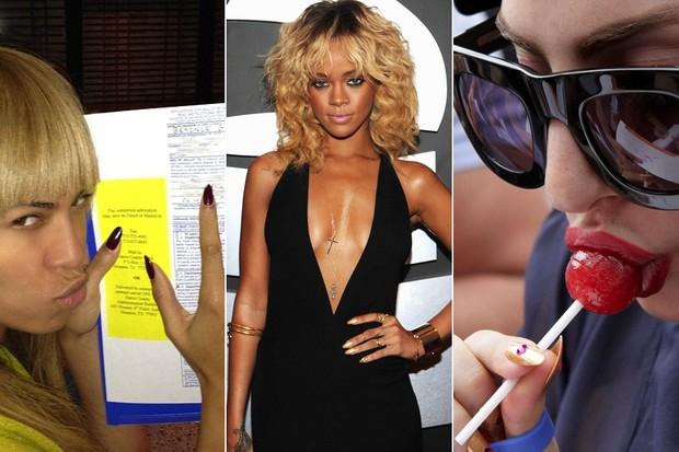 Unhas stiletto - Beyoncé, Rihanna e Lady Gaga (Foto: Facebook / Reprodução || Getty Images || Reuters)