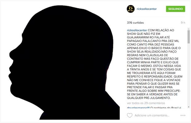 Rick Sollo em post no Instagram (Foto: Reprodução)