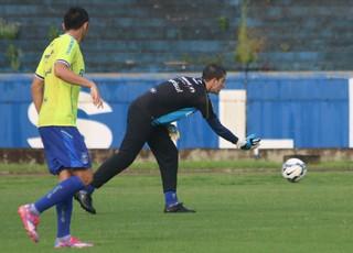 Grohe volta aos treinos no Grêmio depois de defender a seleção (Foto: Eduardo Deconto/GloboEsporte.com)