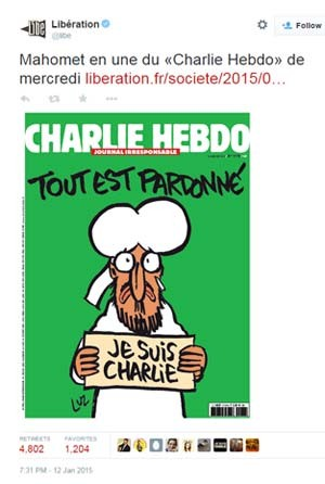 A capa da próxima edição do 'Charlie Hebdo' terá charge do profeta Maomé segurando placa com os dizeres 'Eu sou Charlie' (Foto: Reprodução/ Twitter/ Libertation)