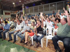 Assembleia dos bancários em Salvador, na Bahia (Foto: Manoel Porto/Sindicato)